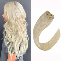 """VeSunny 14"""" Clip in Human Hair Extensions Blonde Color #60 Hair Extension Clip i"""