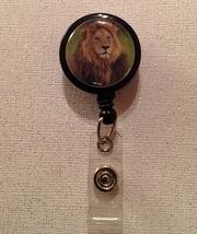 Lion Badge Reel Id Holder Alligator Clip New Handmade Brown Green Black - $6.95