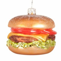 "Glass 3""x2.5"" Hamburger Cheeseburger Christmas Tree Ornament NWT"