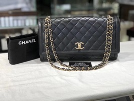 AUTHENTIC CHANEL Black Quilted Lambskin Large Flap Bag GHW