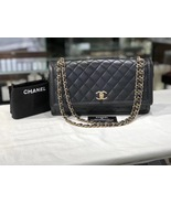 AUTHENTIC CHANEL Black Quilted Lambskin Large Flap Bag GHW - $3,499.99