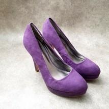 "Qupid Womens Sz 7 M Purple Suede Slip On 4.5"" Pumps Platform - $24.99"