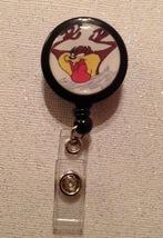 Taz Badge Reel Id Holder brown black alligator clip handmade new - $6.95