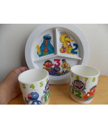 Vintage Sesame Street Melamine Divided Plates and Cups  - $25.00
