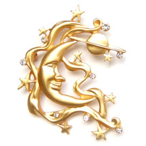 Brooch Fairytale Fantasy Moon Lunar Star Planet Cloud Frosted Gold Lovely Pin  - $8.99