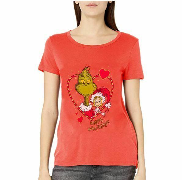 Dr. Seuss Womens Ugly Christmas T-Shirt T-Shirt - XMAS-NEON CORAL COLOR- MEDIUM
