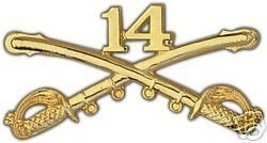 ARMY 14TH CAVALRY GOLD LAPEL HAT PIN - $13.53