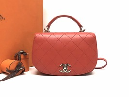AUTHENTIC CHANEL CORAL RED 2-WAY QUILTED CALFSKIN TOP HANDLE FLAP BAG