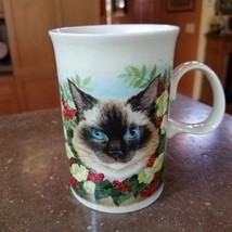 Dunoon Cat Mug Siamese Black Scotland White Flowers Red Berries - $17.50