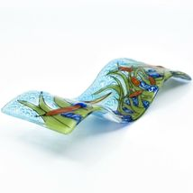 Fused Art Glass Blue Heron Bird in Cattails Wavy Sun Catcher Handmade Ecuador image 5