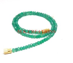 "Natural Silverite Green Onyx 3-4mm Rondelle Faceted Beads 34"" Beaded Nec... - $25.70"