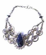 Peruvian Bracelet Sodalite Gemstone & Alpaca Silver Ethnic New Art Peru - $10.00