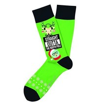 Straight Out Of North Pole Christmas Fun Novelty Socks Two Left Feet Dre... - $10.49