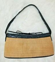 Cole Haan womens Shoulder Straw Leather Trim Bag Shoulder Bag small Satchel - $18.69
