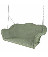 Hand Woven Resin Wicker Outdoor Porch Swing, Green - $350.20