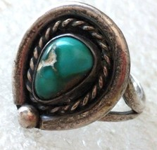 VINTAGE STERLING SILVER GREEN TURQUOISE RING s 6.75 - €26,24 EUR