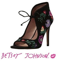 NWT Betsey Johnson black floral embroidered Caira - $54.45