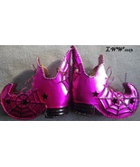 2 Metal Metallic Pink-Purple Halloween Spider Witch Boots Tea Candle Hol... - $11.99