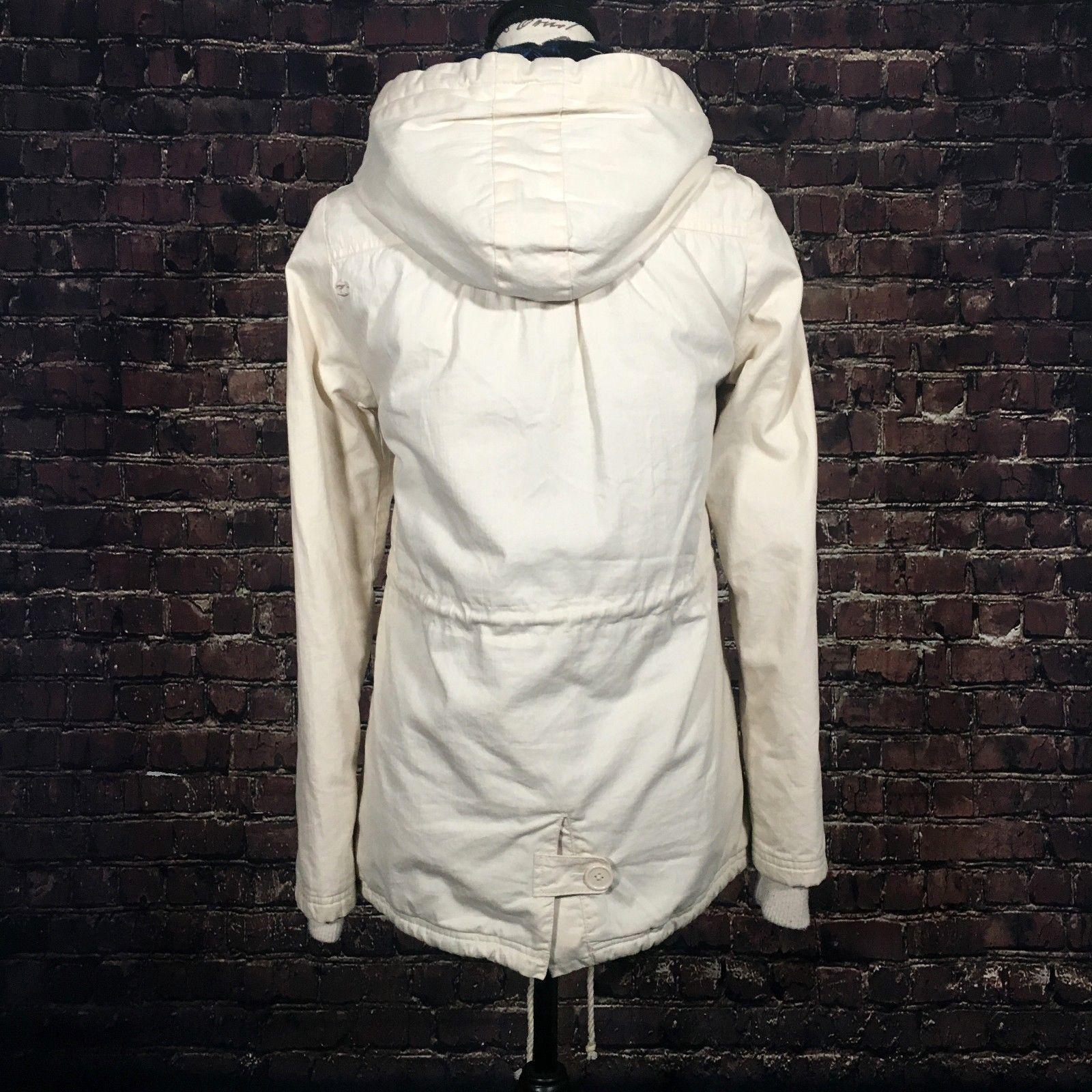 Billabong Womens Jacket Hooded Button Down Full Zip Cinched Waist Utility Coat S