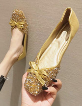 Sequin Gold Ballet Flats Slippers Shoes Evening flats Party Shoe Wedding... - £39.12 GBP