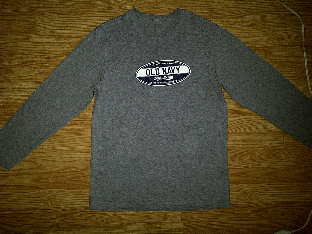 Old Navy Mens Casual Gray Grey Classic Long Sleeve Tee T-Shirt S Small