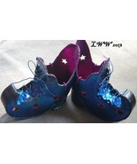 2 Metal Metallic Blue and Purple Halloween Witch Boots Tea Candle Holders - $11.99