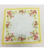 Vintage Hankie Yellow White w Pink Peach Flowers & Bows Original Foil Tags  - $18.32