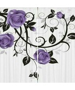 Curtains Purple Roses Vines Print Backdrop 66004 - $38.09