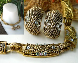 Vintage Choker Necklace Earrings Demi Parure Goldtone AB Rhinestones - $28.95