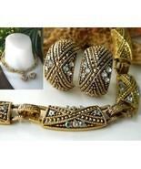 Vintage Choker Necklace Earrings Demi Parure Goldtone AB Rhinestones - $28.95