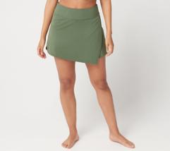 Denim & Co. Beach Swim Skirt with Asymmetric Front Slit,Dark Olive,Size ... - $14.84