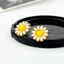 Fashion Yellow Sunflower Earrings Gift Jewelry Cute & Sweet Small Stud E... - $4.97