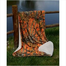 "Throw Blanket ORANGE CAMO WOODS Camouflage Sherpa Ultra Plush Soft 50 x 70"" - €26,21 EUR"