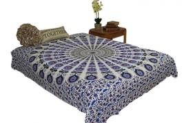 Hippie Mustard Blue Mandala Tapestry Bohemian Wall Hanging Throw Dorm Decor - £18.36 GBP