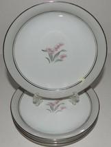 4 Noritake China Bread Plates Lilybell 5556 Pink Lilies Gray Border Japan - $26.72