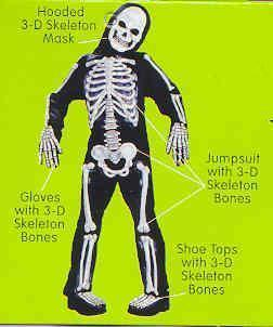 Skeleton with 3D Bones 12/14 Child Costume