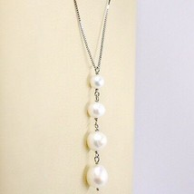 Necklace White Gold 18K, Pendant White Pearls, round and Drop, Chain Venetian image 2