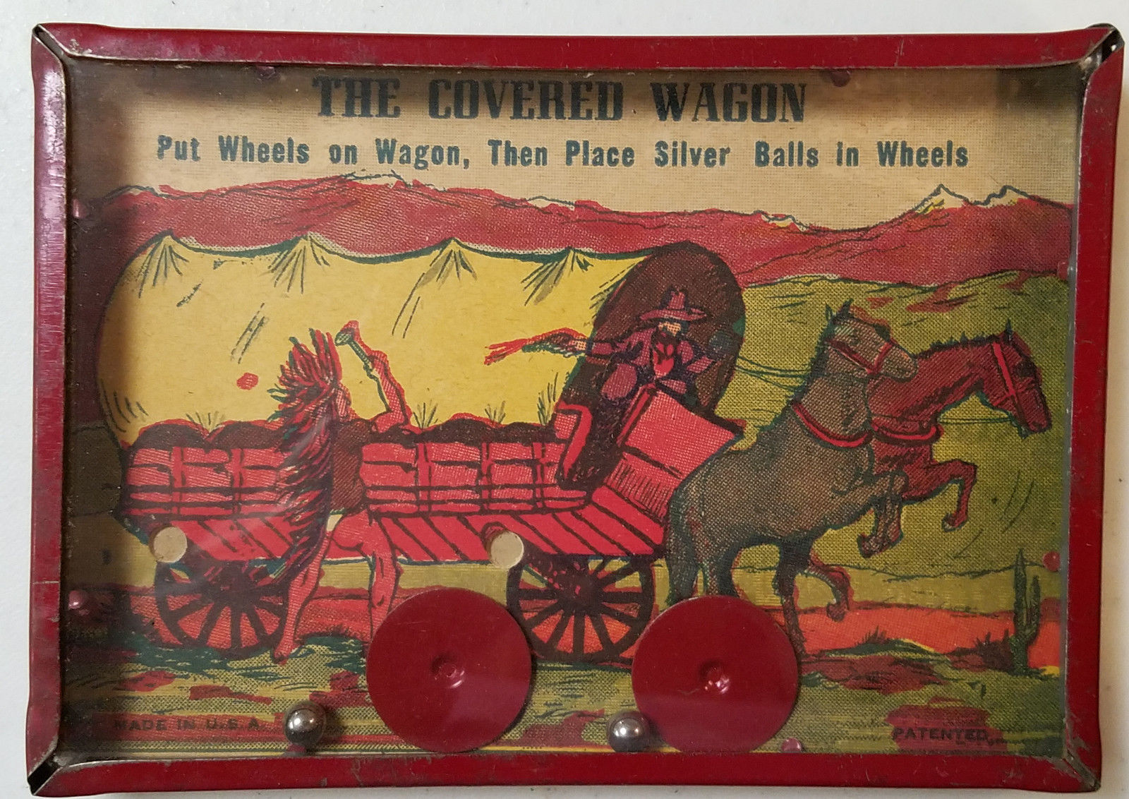 Vintage Cowboy & Indian Western Tin Toy Dexterity Puzzle The Covered Wagon
