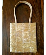 Lord & Taylor Beaded Satin Evening Bag Beige Gold Vintage Cocktail - $33.86