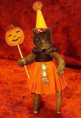 Vintage Inspired Spun Cotton Black Cat Girl Ornament, No. 238, Halloween