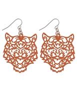 Orange Tiger Filigree Dangle Earrings - $12.00