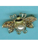 Liz Claiborne Bumblebee Pin Gold Pave Topaz Rhinestone Wings Christmas Gift - $7.99