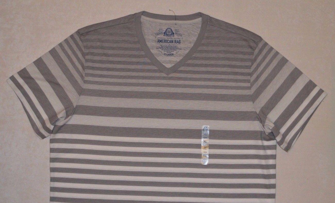 American Rag Men's T-shirt Short Sleeve Gray White Tee Size XL Striped V-Neck