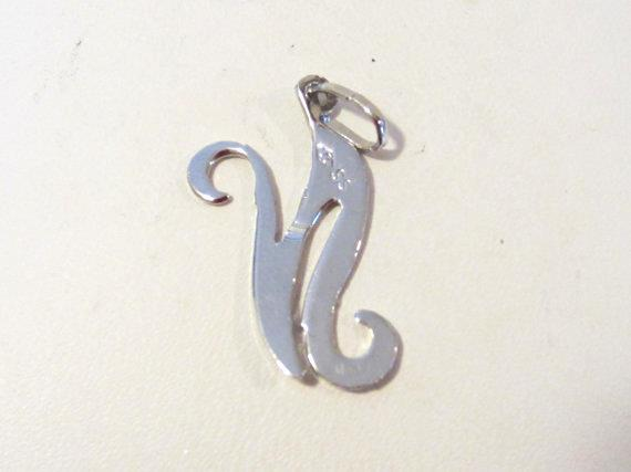 Sterling silver 925 Letter '' N '' pendant