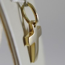 18K YELLOW GOLD MINI CROSS SQUARED ARCHED, SMOOTH, LUMINOUS, MADE IN ITALY image 2