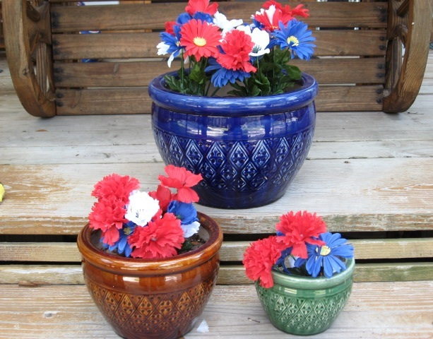 3 Large Flower Pots Planters Ceramic