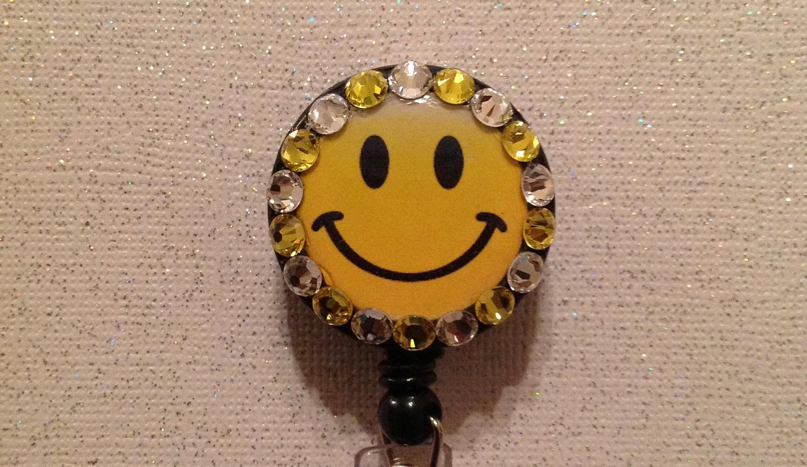 Happy Face Badge Reel Id Holder Swarovski Crystals Alligator Clip Yellow