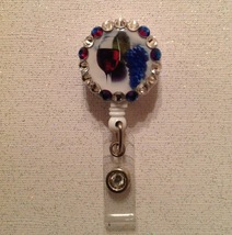 Wine Glass Badge Reel Id Holder Swarovski purple belt clip handmade new - $9.95