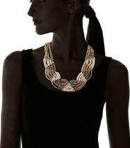 Leslie Danzis Gold Plated Multi Strand Iridescent Beaded Collar Bib Necklace NWT image 2
