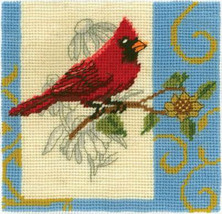 Janlynn Cardinal mini Needlepoint Kit, very small 6x6 red bird, yarn - $12.99